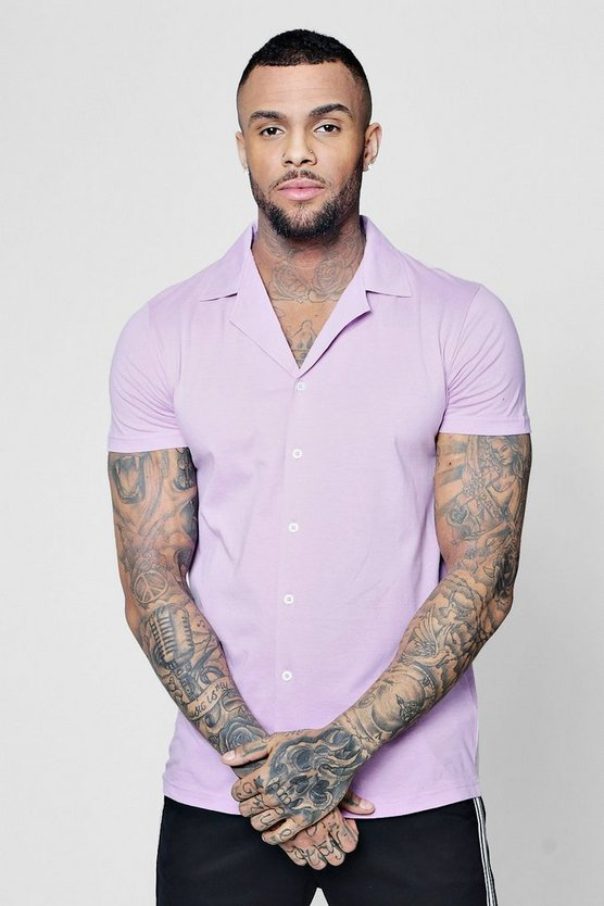 Jersey Short Sleeve Shirt With Revere Collar