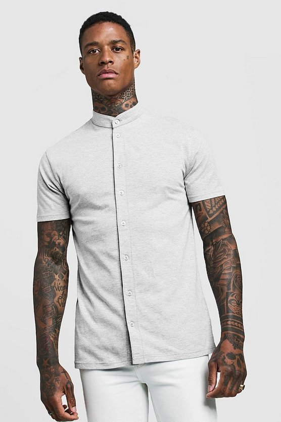 Mens Grey Muscle Fit Short Sleeve Grandad Jersey Shirt