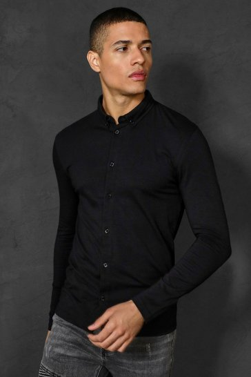 Mens Black Muscle Fit Long Sleeve Jersey Shirt