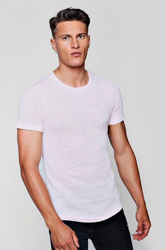 Muscle Fit Curved Hem MAN Signature T-Shirt