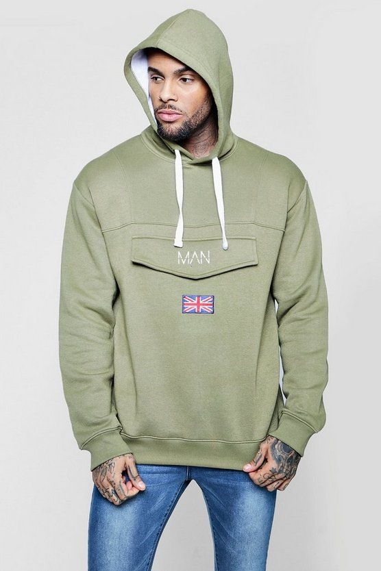 Over The Head Festival Man Utility Hoodie by Boohoo Man