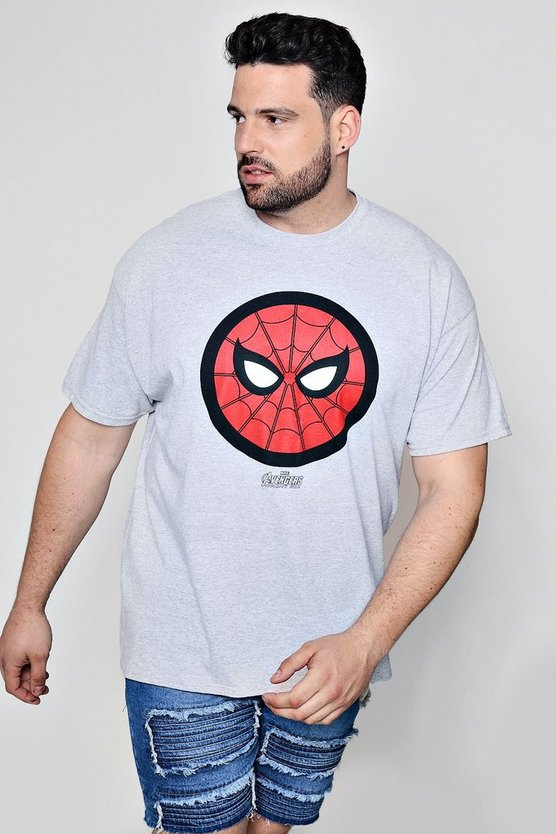 Big and Tall T-Shirt mit Spiderman Symbol, Grau, Herren