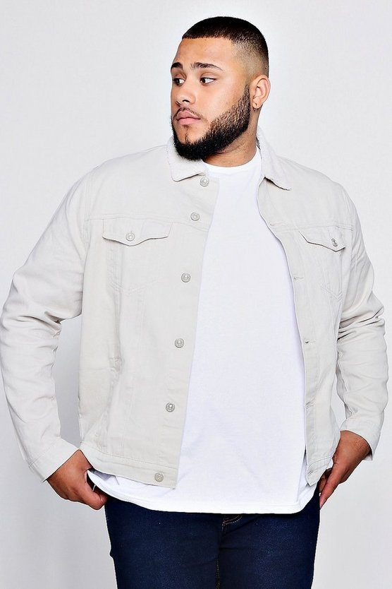 Big And Tall pastellfarbene Denim-Jacke