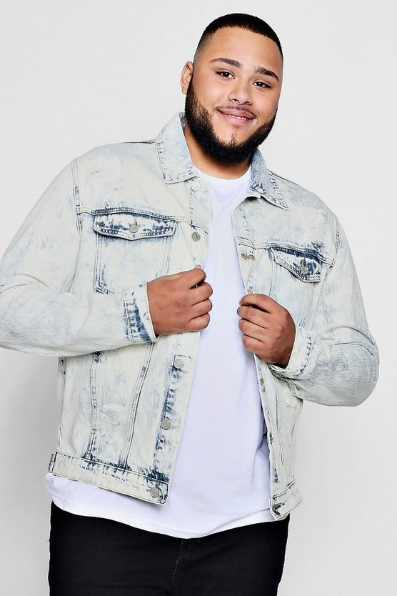 Big And Tall Acid Wash Denim Jacket