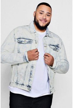 Mens Light blue Big And Tall Acid Wash Denim Jacket