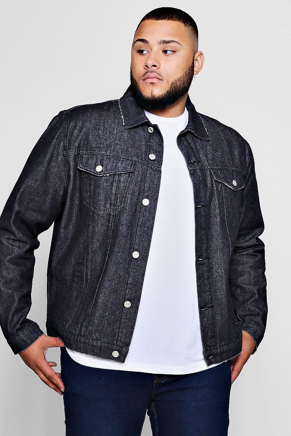 eabba958458b Mens Washed black Big And Tall Regular Fit Denim Western Jacket