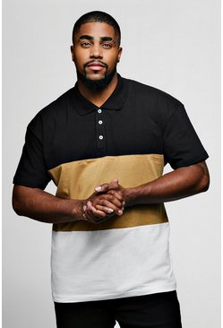 Mens Taupe Big And Tall Colour Block Polo Shirt