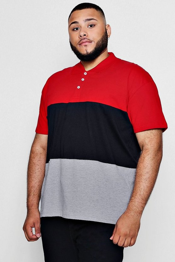 Big And Tall Colour Block Polo Shirt
