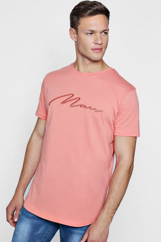 Mens Coral Curve Hem Longline MAN Embroidered T-Shirt