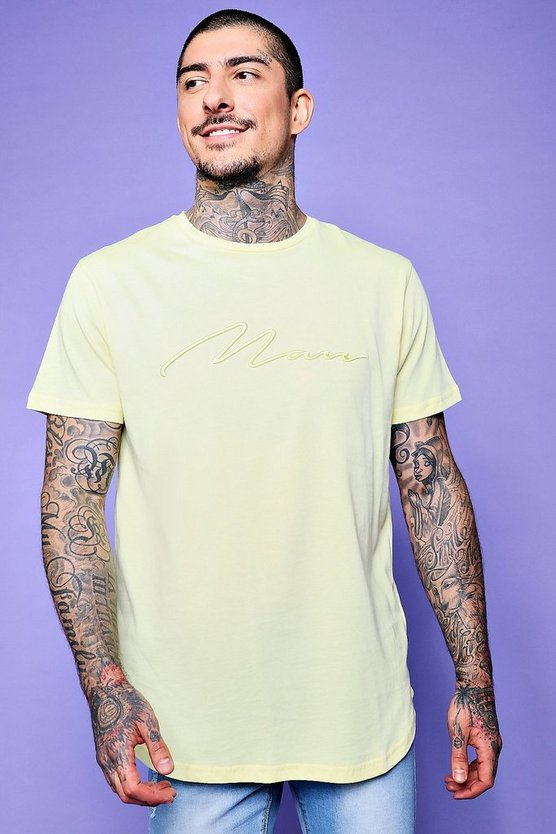 Curve Hem Longline MAN Embroidered T-Shirt