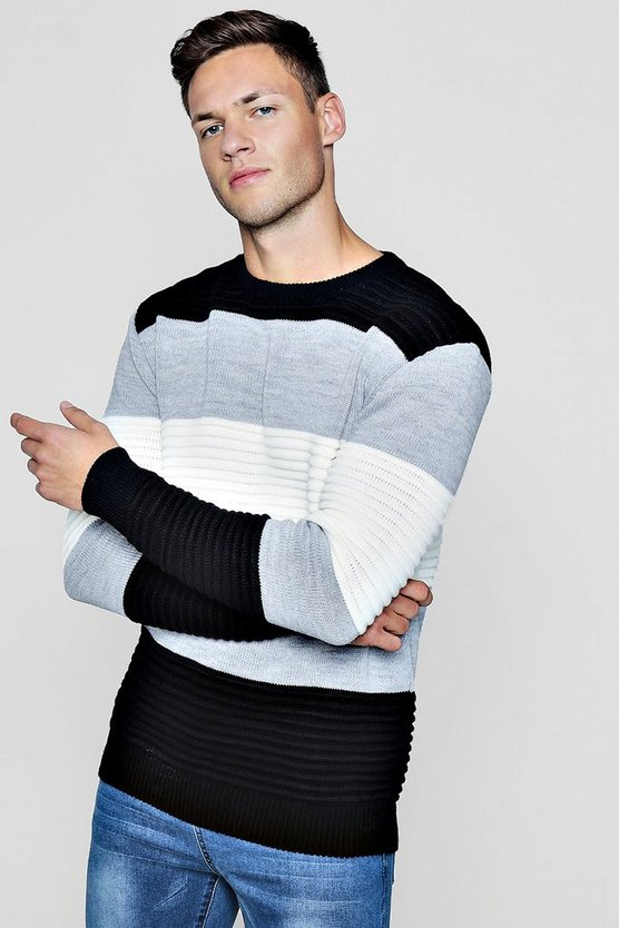 Ottoman Rib Colour Block Knitted Jumper