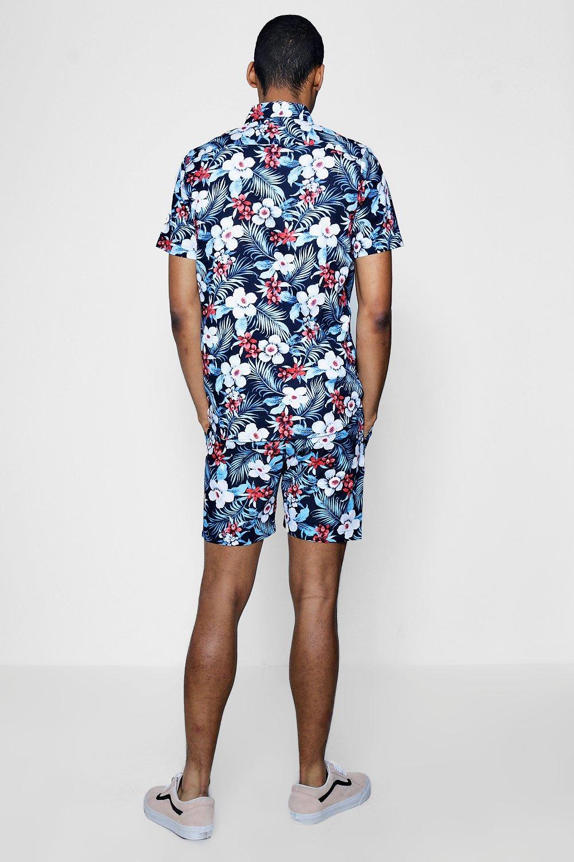 azul cortas estampado reversibles mangas de de floral camisa con Conjunto xwAqp6z