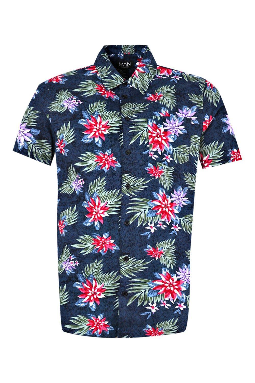 marino mangas Azul con de reversibles Conjunto camisa estampado cortas floral de q7Ht6