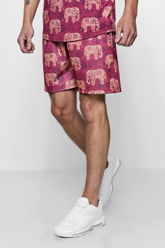 Mens Red Elephant Tribal Print Mid Jersey Short Shorts