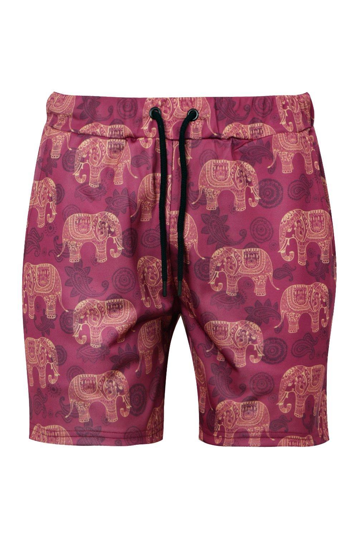 cortos con de estampado rojo de pantalones elefantes Conjunto tribales de punto ZwqnEaOnxX