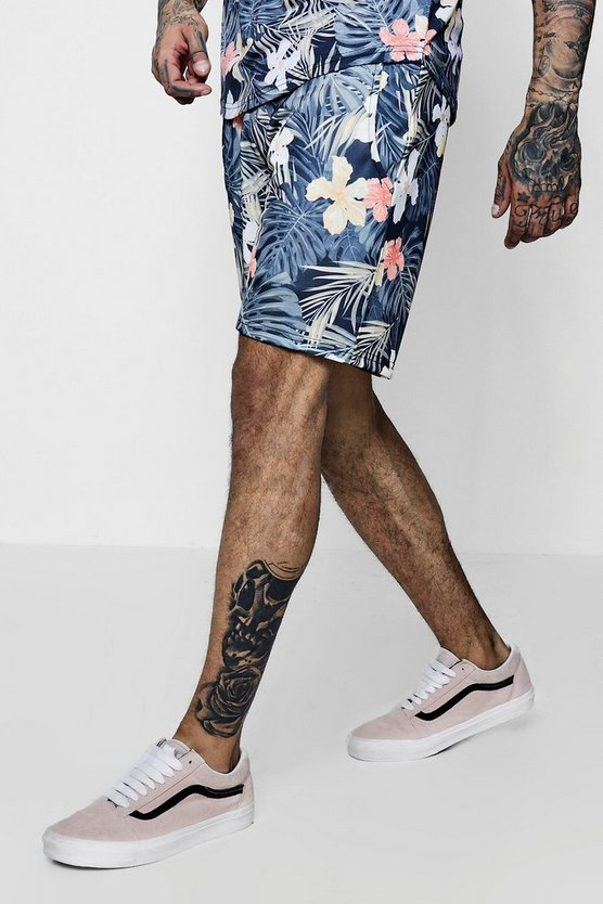 Floral Palm Print Mid Jersey Shorts