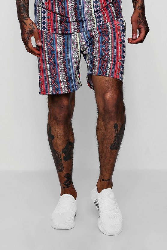 Mens Multi Aztec Tribal Print Mid Jersey Shorts