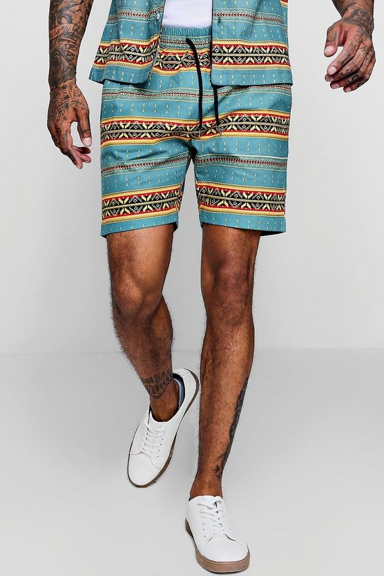 Blue Aztec Print Drawstring Short