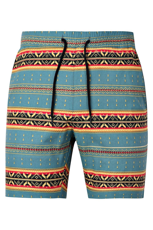 con cortos cordón de Conjunto estampado pantalones azteca azul con ajustable qntAw6xR