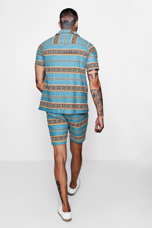 azul de solapa camisa de mangas de estampado Conjunto con cortas y cuello azteca fS7xnwd