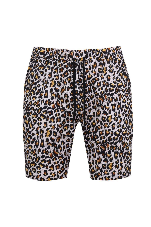con de estampado de ajustable leopardo marrón cortos con Conjunto cordón pantalones t1SRnngq