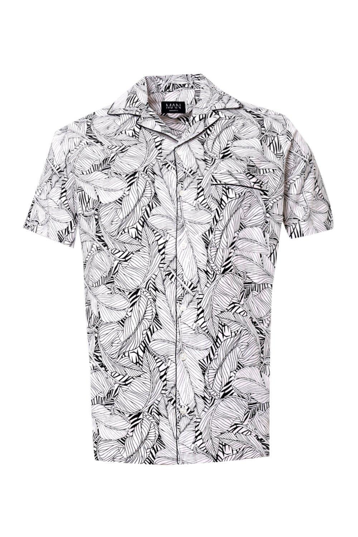 y solapa estampado mangas cuello camisa Conjunto monocromo hojas de de cortas de negro con de wqX1xvxU8