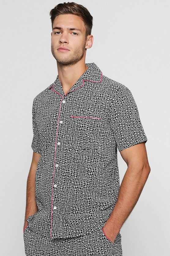 Mens Black Tribal Print Revere Short Sleeve Shirt