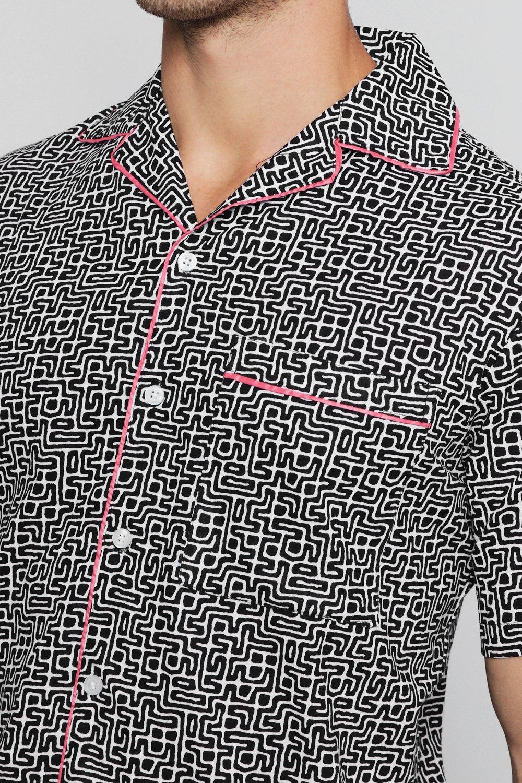 y de estampado tribal Conjunto cuello con solapa mangas de camisa negro cortas de 6UwXRq