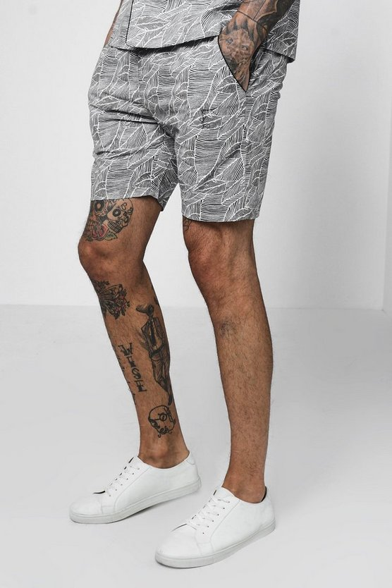 Mens Grey Leaf Print Drawstring Short