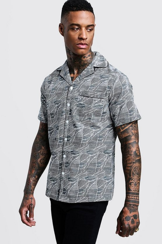 Mens Grey Leaf Print Short Sleeve Revere Shirt