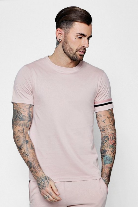 Mens Rose Stripe Detail T-Shirt