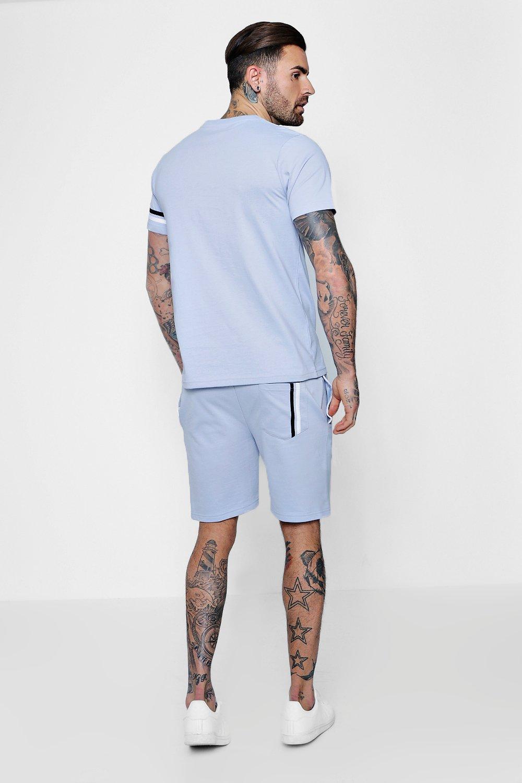 a Conjunto medio de piedra largo pantalones de rayas cortos gris wO6qOvBY