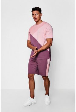 Mens Pink MAN Colour Block Drop Shoulder Short Tracksuit