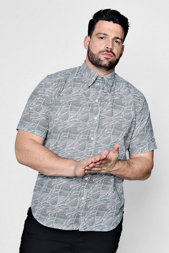 Big And Tall Leaf Print Short Sleeve Shirt