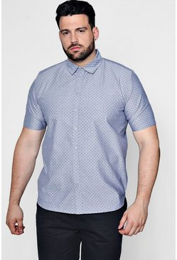 Mens Grey Big And Tall Spot Print Chambray Shirt