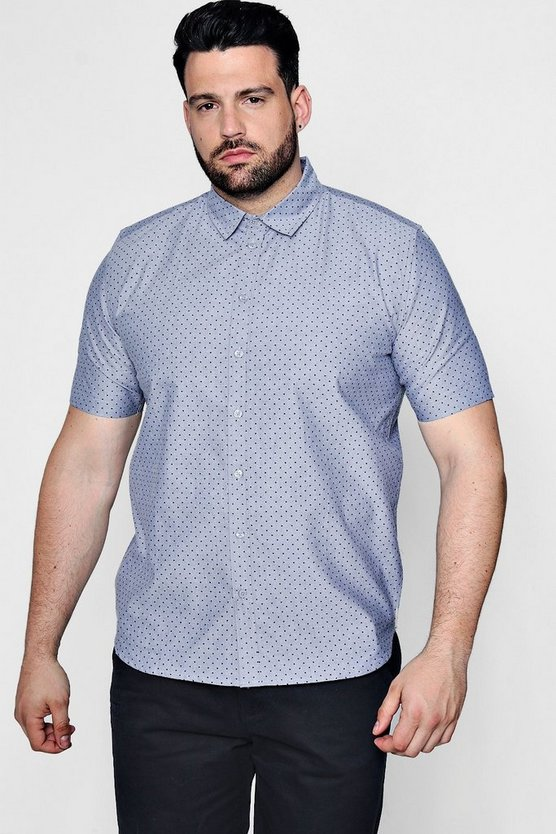 Big And Tall Spot Print Chambray Shirt