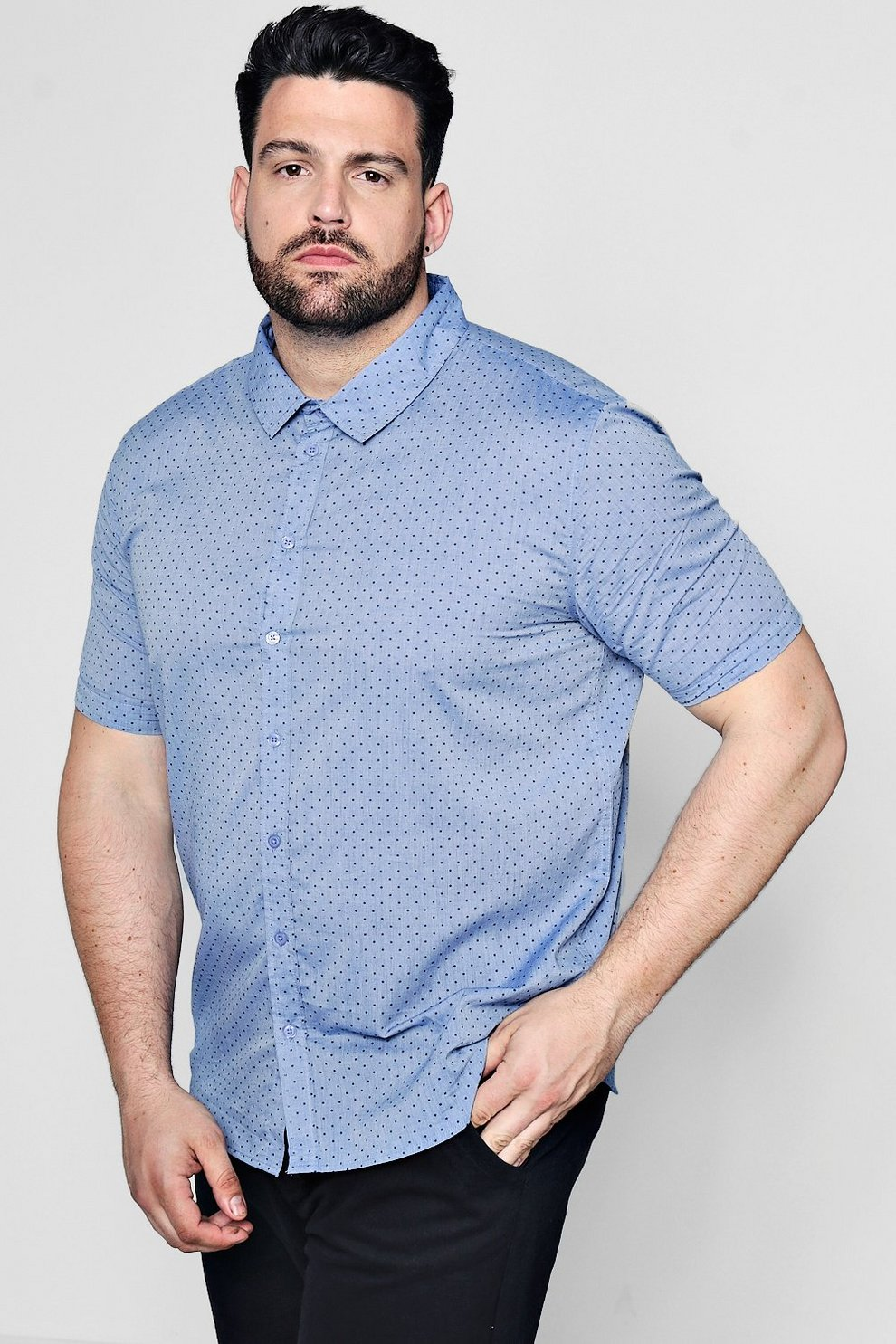 eb85a819be2 Big And Tall Spot Print Chambray Shirt
