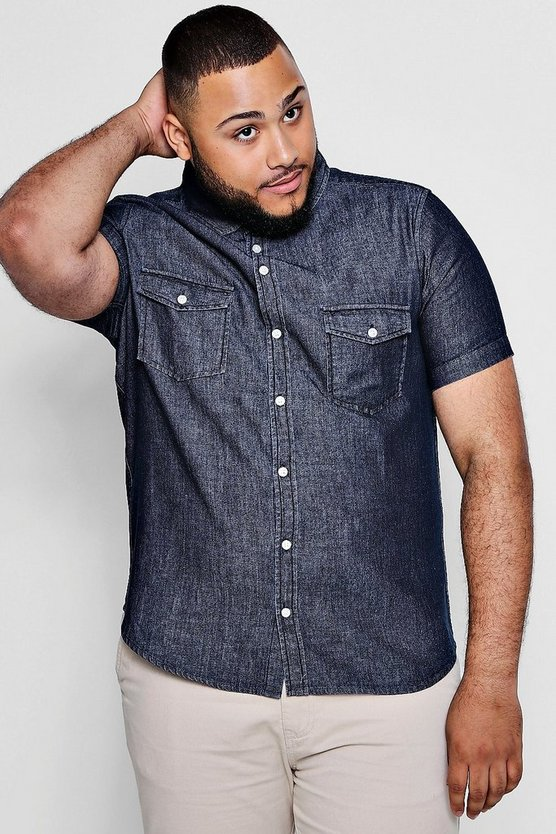 Big And Tall Short Sleeve Denim Shirt