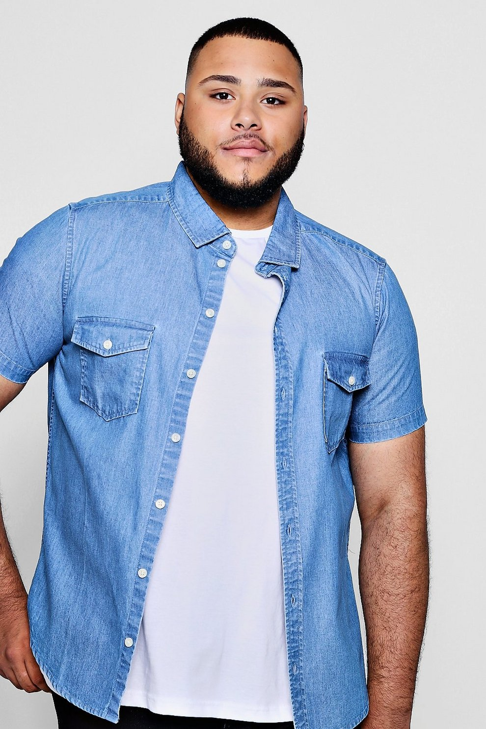 0ca5b88226 Big And Tall Short Sleeve Denim Shirt