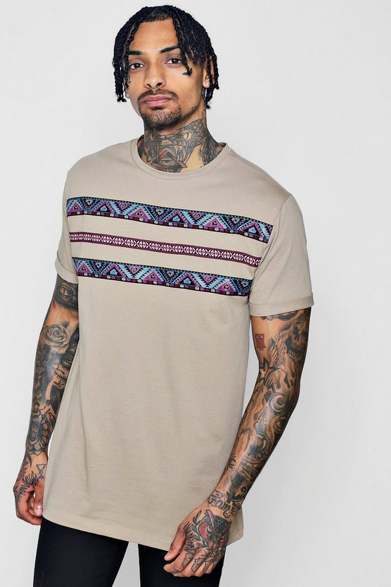 Longline Roll Sleeve Aztec Tape T-Shirt
