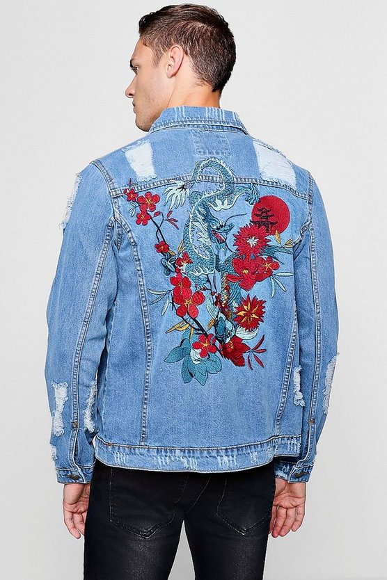 Dragon Embroidery Distressed Denim Jacket