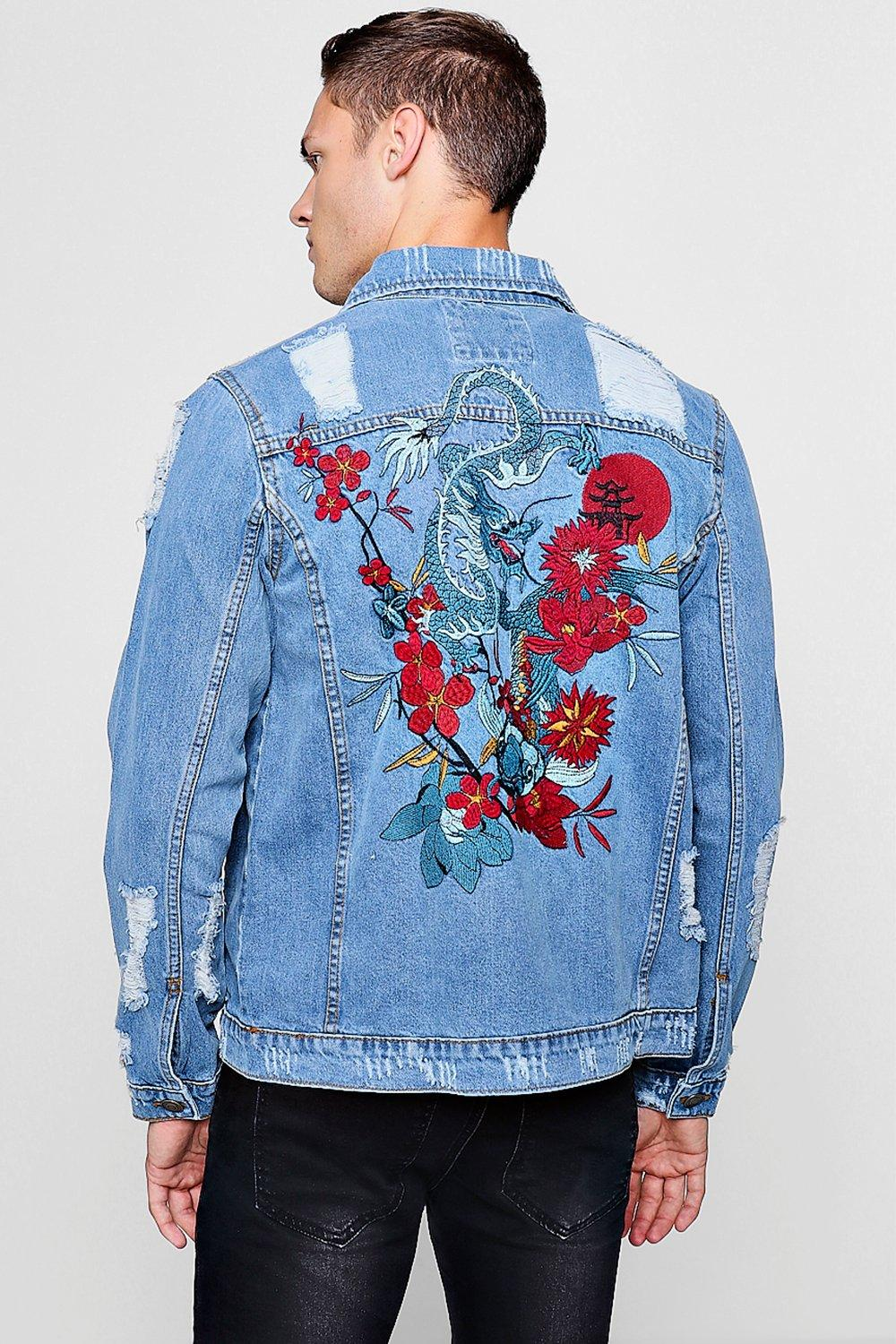 a580324298 Dragon Embroidery Distressed Denim Jacket | Boohoo