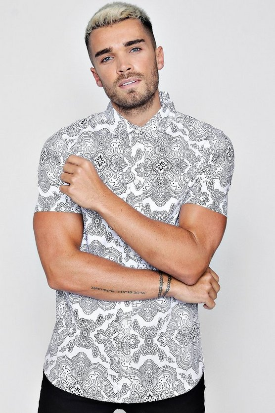 Mandala Print Short Sleeve Shirt In Muscle Fit