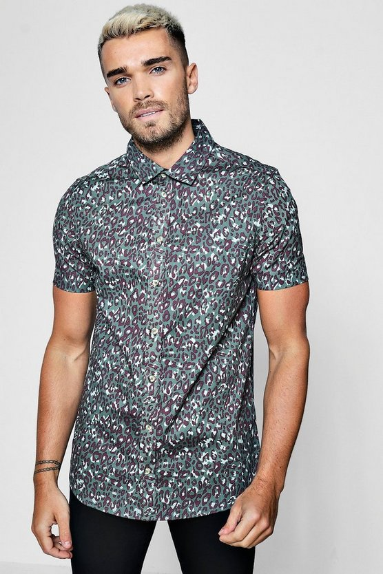 Leopard Print Short Sleeve Shirt In Muscle Fit