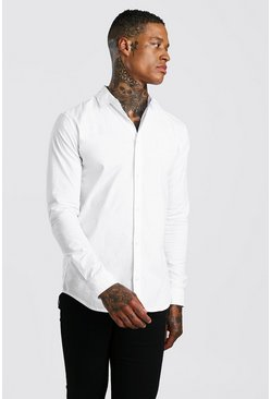 Mens White Muscle Fit Long Sleeve Shirt