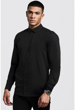 Mens Black Muscle Fit Long Sleeve Shirt