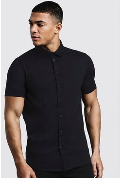 Mens Black Muscle Fit Short Sleeve Shirt