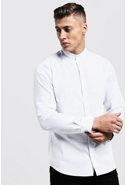 Herr White Muscle Fit Grandad Collar Long Sleeve Shirt
