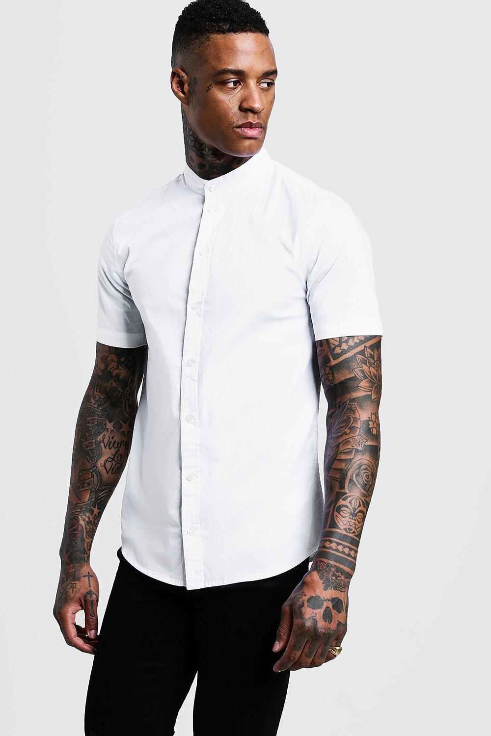 eafadaf2c5cacb Mens White Muscle Fit Grandad Collar Short Sleeve Shirt. Hover to zoom. Close  video