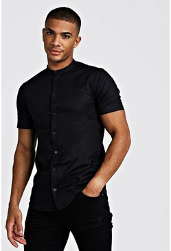 Mens Black Muscle Fit Grandad Collar Short Sleeve Shirt
